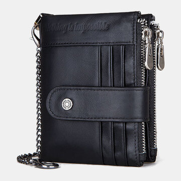 Genuine Leather RFID Chains Multi-slots Retro Large Capacity Foldable Card Holder Coin Wallet