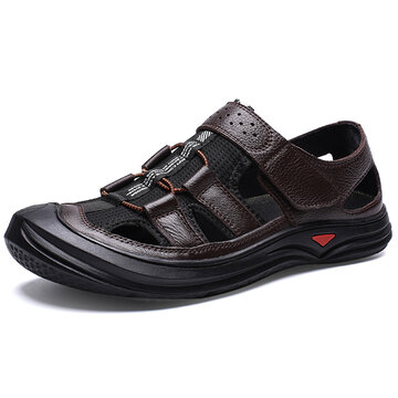 Men Genuine Leather Soft Sole Casual Sandals
