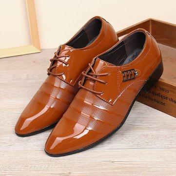 Herren Leder Rutschfeste Metall Business Formelle Schuhe