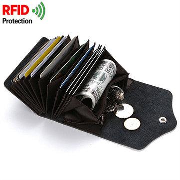 RFID Portefeuille en cuir véritable antimagnétique 14 porte-cartes pour pièce