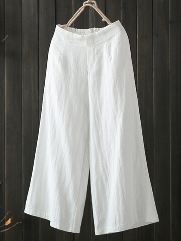 Wide Leg Solid Color Casual Pants