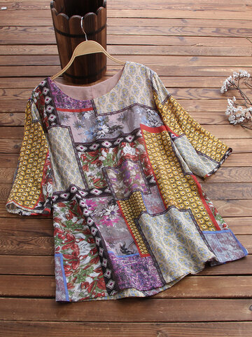 Ethnic Floral Print Blouse