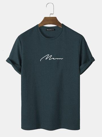 T-shirts texturés en tricot brodé de script