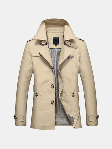 Uomo Trench Coat a Monopetto di Stile Casual Business