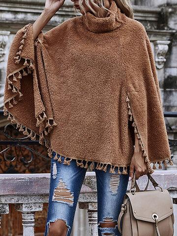 Solid Tassel Hem Plush Sweatshirt