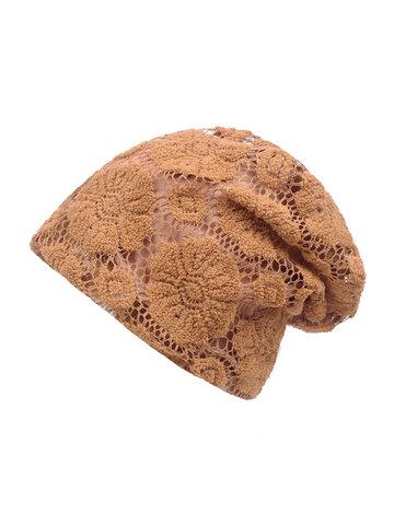 Solid Flower Patter Beanie Hat