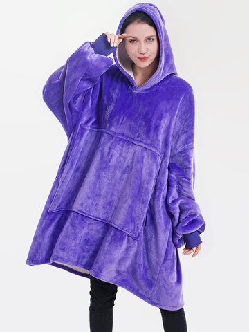 Thicken Plush Wearable Blanket Hoodie