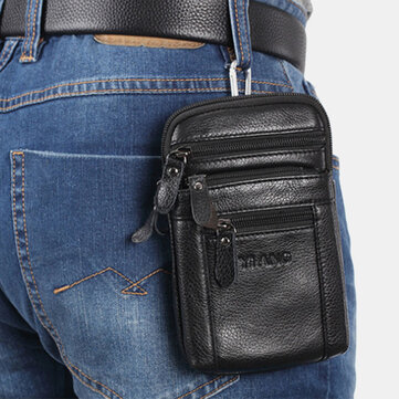 Men 7 Inch Casual Genuine Leather Belt Phone Bag