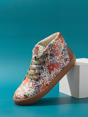 SOCOFY Exquisite Stitched Floral Printed Casual Sneakers Skate Shoes