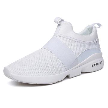 Men Elastic Band Portable Slip On Running Shoes Casual Sneak