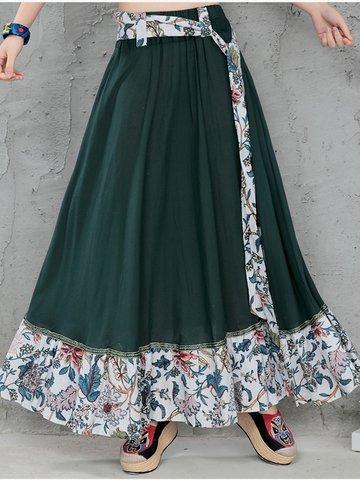 Coton Folk Style Floral Print Patchwork Tie Maxi Jupe Pour Femmes