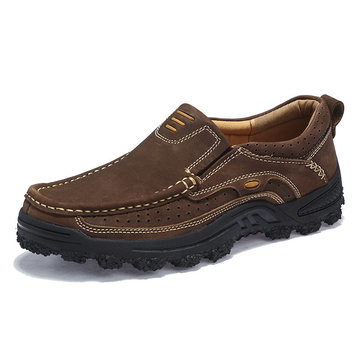 Men Genuine Leather Slip Resistant Outdoor Casual Shoes