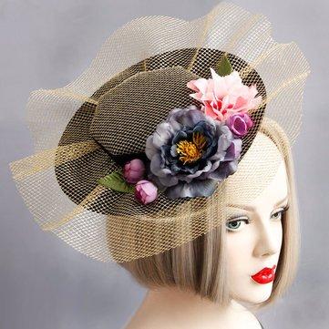 Cosplay Hair Clip Retro élégant en coton fleur cravate de cheveux