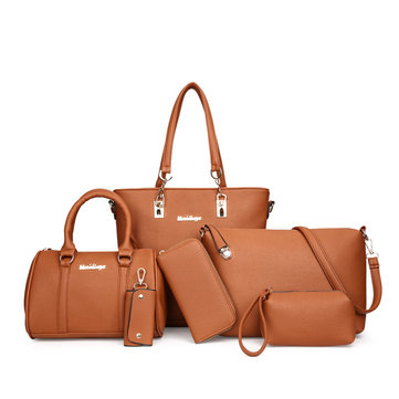 Women Plain Faux Leather Six-piece Set Handbag