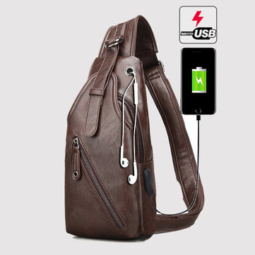 Sling bag in cuoio con USB porta
