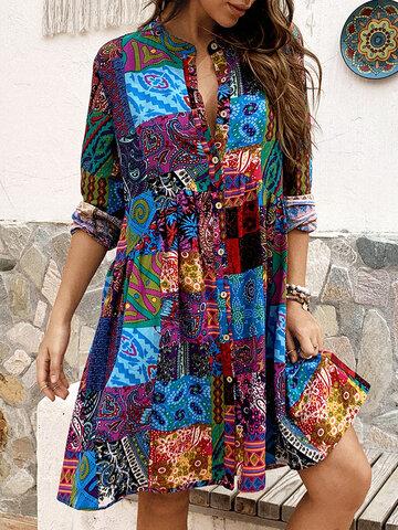 Длинный рукав с этническим принтом Платье