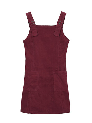 Solid Pocket Strap Retro Style Corduroy A-Line Vest Dress