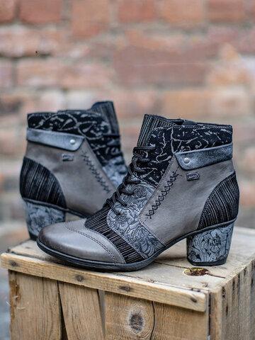 Retro Printed Chunky Heel Short Boots