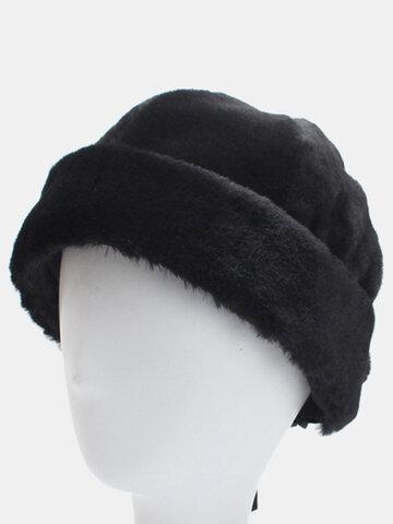 Women Faux Rabbit Fur Rolled Cuff Brimless Cap