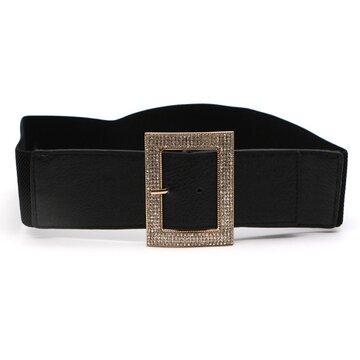 Fibbia ad anello strass intarsiato Cintura