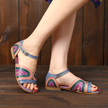 Adjustable Hook Loop Leather Sandals