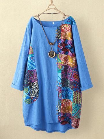 فستان مرقع بطبعة عرقية