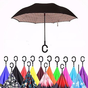 C shaped Multi Color Double Layer Inverted Reverse Umbrella