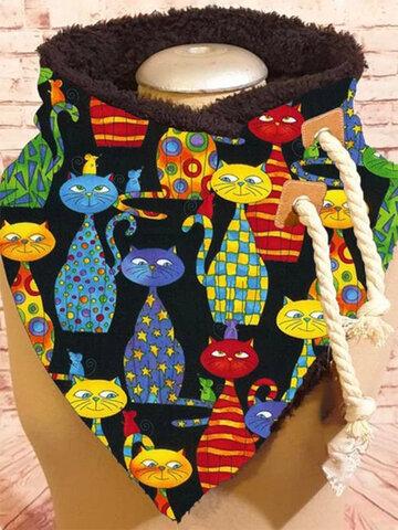 Women Cute Cartoon Cats Pattern Soft Keep Warm Scarf