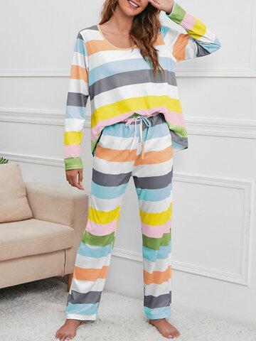 Plus Size Colorful Horizontal Stripe Pajamas