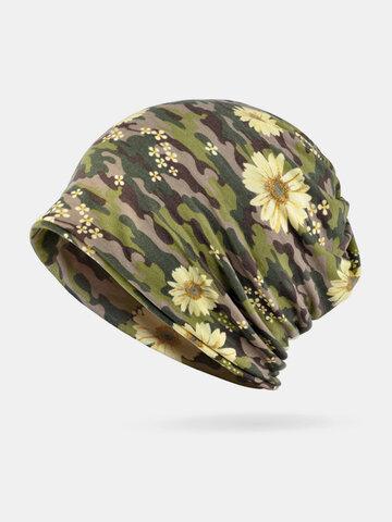 Women Dual-use Camouflage Flower Pattern Brimless Beanie Scarf