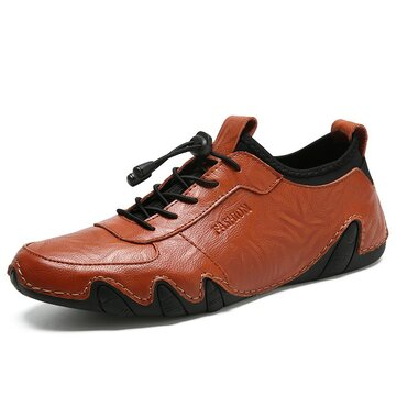 Men Elastic Lace Up Leather Shoes