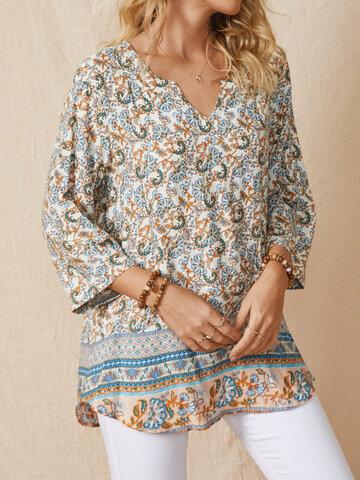 Bluse mit V-Ausschnitt und Blumendruck