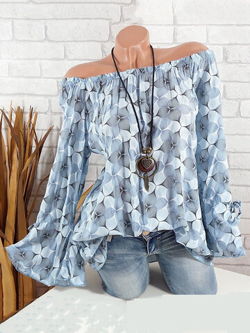 Casual Printed Off Shoulder Flare Sleeve Blouse