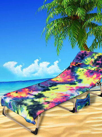 Tie-Dye Pool Chair Cover with Side Pockets Microfiber Chaise Lounge Chair Towel Cover for Sun Lounger Pool Sunbathing Garden Beach Hotel