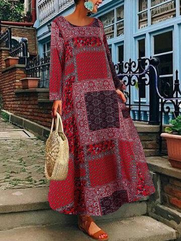 Vestito lungo con stampa floreale boema