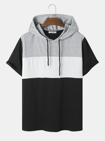 Contrasting Color Patchwork Hooded T-Shirt