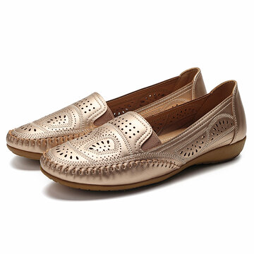Soft Solid Color Hollow Flat Shoes