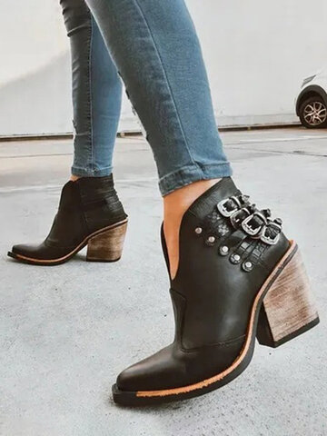 Pointed Toe Retro Elegant Ankle Boots