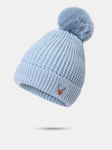 Women Elk Embroidered Beanie Hat