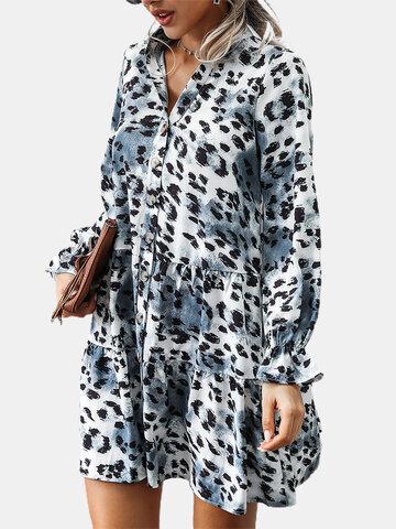 Leopard Button Print Dress