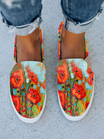 Stylish Printing Calico Canvas Loafers
