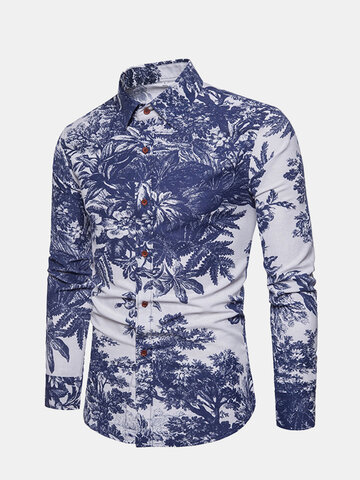 Cotton Casual Floral Printed Shirt, White