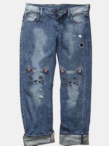 Gato Bordado Casual Mulheres Jeans