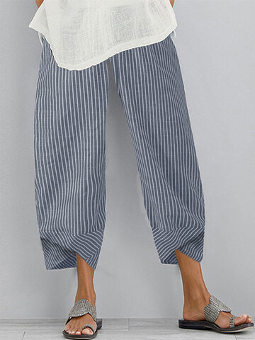 Striped Patchwork Casual Pants