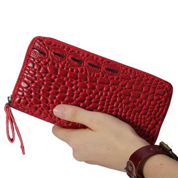 Women Crocodile Grain Design Elegant Long Wallet Casaul Cash Coins Purse