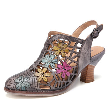 SOCOFY Distressed Leather Floral Cutout Buckle Strap Slingback Pointed Toe Chunky Heel Sandals