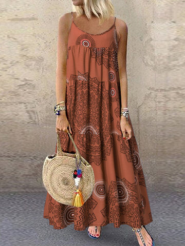 Print Spaghetti Straps Maxi Dress