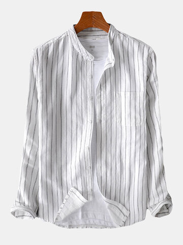 Mens Cotton Striped Retro Breathable Long Sleeve Single-breasted Loose Casual Shirt, Black white dark grey