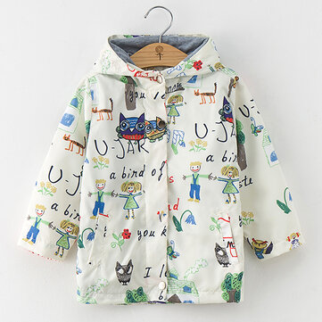 Cartoon Print Boys Girls Coat