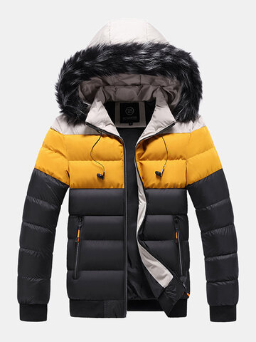Color Block Hooded Puffer Jacket